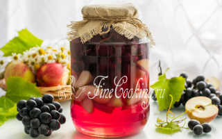 Компот из винограда и яблок на зиму на 3 литровую банку фото рецепт